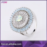 Multicolor Egg Shaped Main Stone Luxury Style Silver Rings