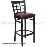 Bar Furniture Black Window Back Metal Restaurant Barstool with Burgundy Vinyl Seat