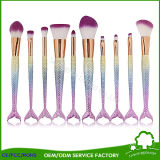 10PCS Rainbow Color Cosmetic Synthetic Hair Make up Brushes Mermaid Makeup Brushes Fish Tail Brush