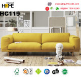 Nordic Modern Furniture 1+2+3 Wood Sofa with Yellow Fabric (HC119)
