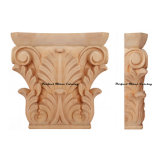 Wood Carved Palm Tree Leaf  Pilaster Capital Cap-F-011
