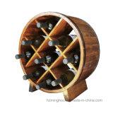 Barrel Shape Vintage Storage Wood Tabletop Wine Bottle Rack