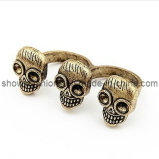 Two-Finger Alloy Antique Plated Jewelry Ring (XRG12092)