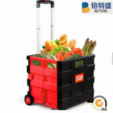 Best Price Colorful Plastic Folding Shopping Cart Trolley with Wheels