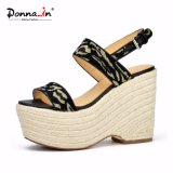 Lady Casual Fabric High Heels Shoes Women Rope Platform Sandals