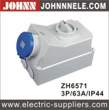 IP44 3p 63A High Quality Socket with Switches and Mechanical Interlock
