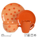 Orange Color with Hand Painting DOT 16PCS Dinner Set