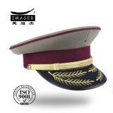 Noble Customized Military Officer Cap with Leaf Embroidery