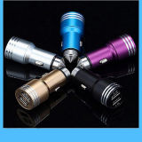 Aluminum 2 USB Ports Car Charger 2.4A 1.0A Dual USB Car Charger for iPhone 5 6 6 Plus for iPad 2 3 4 5 for Samsung Galaxy S4 S5