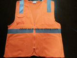Safety Vest Orange 100%Polyester Knitting Fabric and Mesh