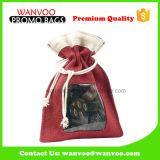 Various Colors Drawstring Gift Pouch Bag with PVC Window for Chocolate Packing