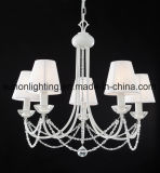 Top Sale Decorative Pearl White Fabric Iron Crystal Chandelier