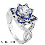 Sterling Silver Cubic Zirconia Rings Unique Floral Designs Women′s Rings