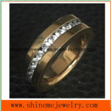 Fashion Jewelry Stainless Steel Rose Gold CZ Ring (CZR2519)