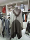Trj011, 100%Cashmere, with Real Fur, Poncho, Women&Lady