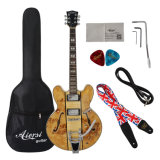 Wholesale Semi Hollow Spalted Maple Electric Jazz Guitar for Sale