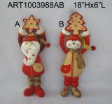 Holiday Santa, Snowman and Reindeer Home Decoration Gift-3asst.