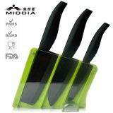 4PCS Mirror Blade Damascus Ceramic Knife Set with Block