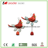 Powder Coated Metal Red Bird Windchime for Home and Garden Decoration