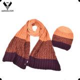 Unisex Fashion Winter Knitted Scarf Beanie Set in Stripe Look