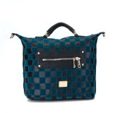 Plain Dual Zipper Front Pocket Lady Tote Bag (MBNO036071)