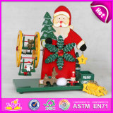 2015 Christmas Revolving Music Box with Santa, Snow Man Design Wooden Music Box, Good Price Wooden Christmas Musical Toys W07b006A