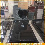 Black Granite Angel with Heart Headstone Monument