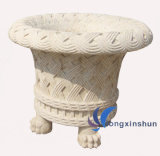 Beige Natural Carving Stone Flower Pots