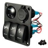 3 Gang LED Rocker Switch + Voltmeter + 2 USB Socket Panel Marine Boat RV Breaker