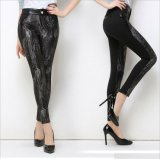 P1271 Snake Pattern Women′s Street Style Black Leggings Pants
