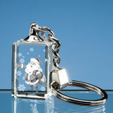 3D Laser Engraving Crystal Glass Key Chain for Gift