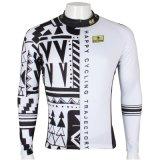 Cool Geomatic Stripe Happy Cycling Jersey White&Black