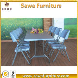 Outdoor Indoor Grey Plastic Folding Dining Table and Chair