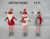 Button Legged Santa Snowman and Mouse, 3 Asst-Christmas Gift