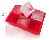 FDA Approved No Odor 6 Cavities Square Silicone 2 Inch Ice Cube Trays