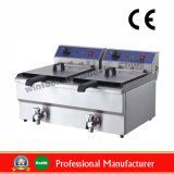 Double Stainless Steel Electric Fryer with Oil Valve