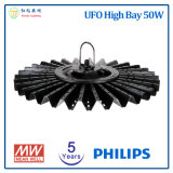 5 Years Warranty 50W UFO High Bay LED Lamp with Philips LED Chip and Meanwell Power Supply