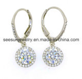 Fashion Silver Jewelry Earring with White Zirconia