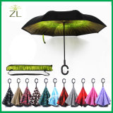 New Design Windproof C-Handle Double Layer Umbrella Inverted