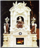 Statue Carved Double Marble Fireplace Surround Mantel (SY-MF186)