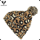 Lady′s Stylish Winter Jacquard Leopard Hat with Top Ball