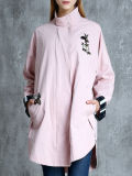 Round Collar Ladies Jacket with Embroidering Long Waist Jacket