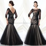 Backless A Line Mother of The Bride Dress Half Sleeve Prom Gowns B35