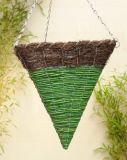 Brushwood and Green Maize Triangular Cone Shaped Hanging Basket