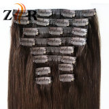 Brown Color Natural Drawn Chinese Hair Clip in Human Hair Extension