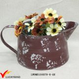 Small Rustic Colored Handmade Painted Metal Flower Pot