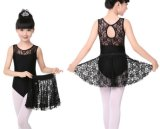 Girl′s Black Cotton and Lace Dance Leotard with Lace Skirts