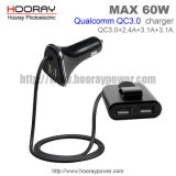Qualcomm QC3.0 Mobile Phone Car Charger Front and Back Seat 4-Ports Smart IC 60W Four USB Car Charger with Holder Cable for Two USB Tablet Adapter