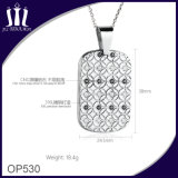 Op530 Flower DOT Diamond Inlay Tag Pendant