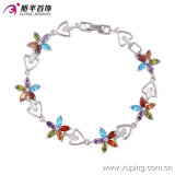 Fashion Elegant Rhodium-Plated Flower Leaf Jewelry Bracelet with CZ Diamond -74049